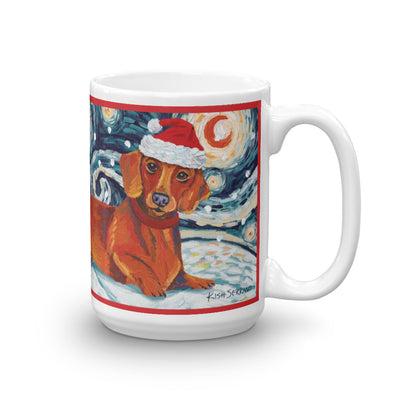 Dachshund (Red) Snowy Night Mug - 15oz