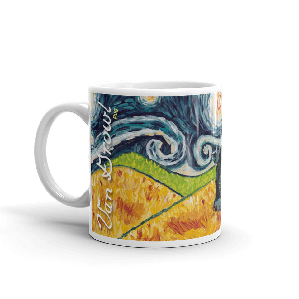 Pug (black) STARRY NIGHT Mug-15oz