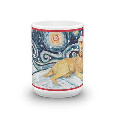Labrador Retriever (Yellow) Snowy Night Mug - 15oz