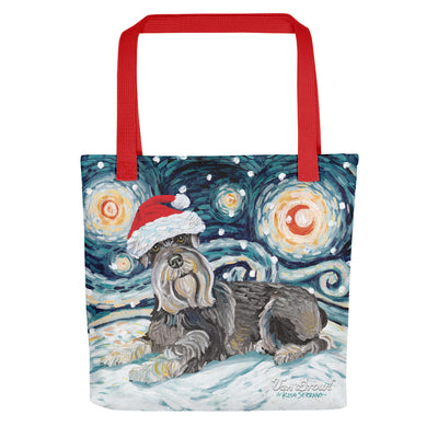 Schnauzer Snowy Night Tote Bag