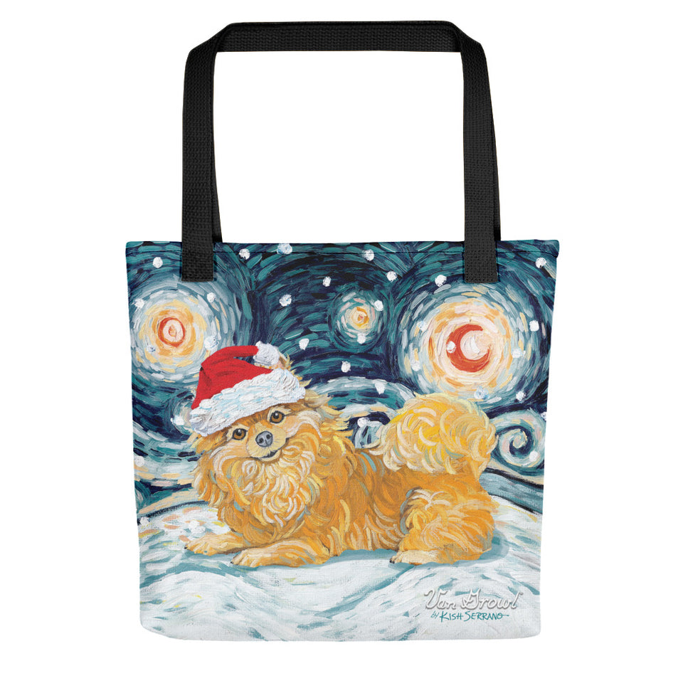 Pomeranian Snowy Night Tote bag