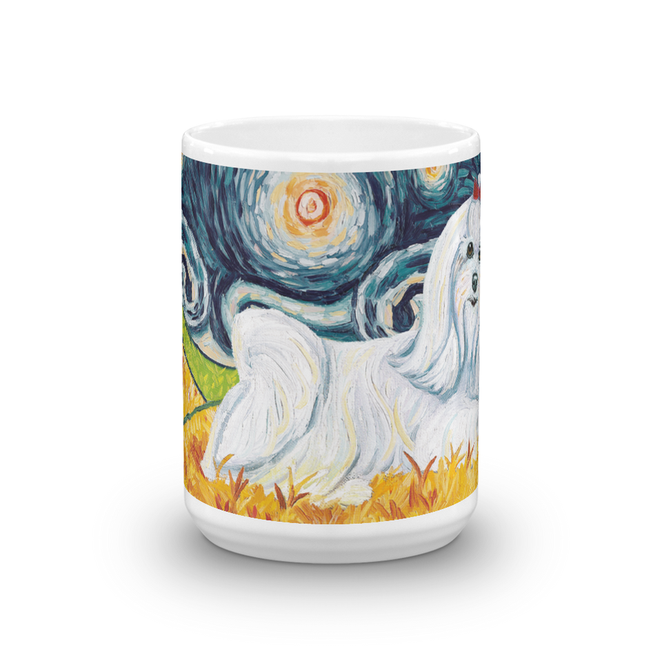 Maltese (longhaired) STARRY NIGHT Mug-15oz