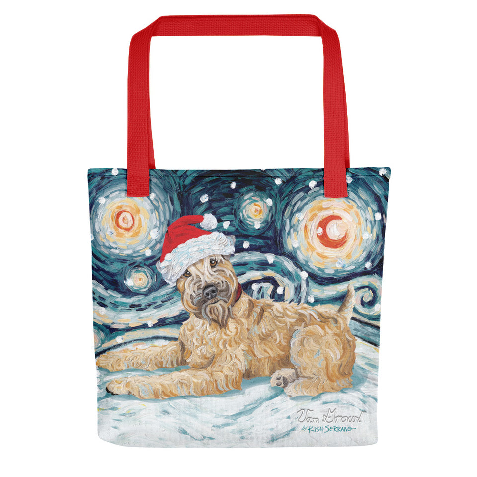 Wheatern Terrier Snowy Night Tote Bag