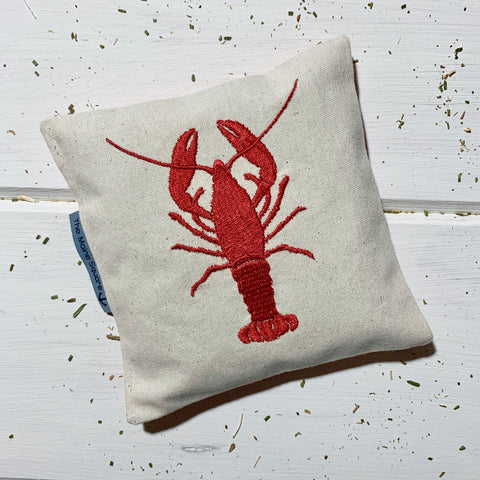 balsam fir pillow sachet with embroidered lobster made in maine