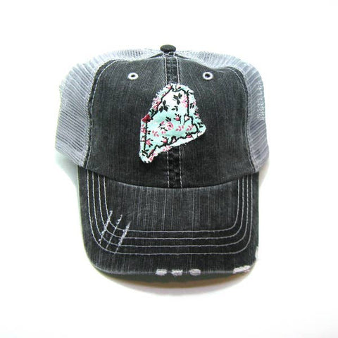 Maine distressed trucker hat by Gracie Designs