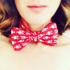 Laura Lynn Michaud CEO of The Maine Square wearing a lobster print bow tie