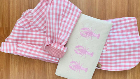 preppy pink lobster zipper pouch clutch styled with pink gingham jacket