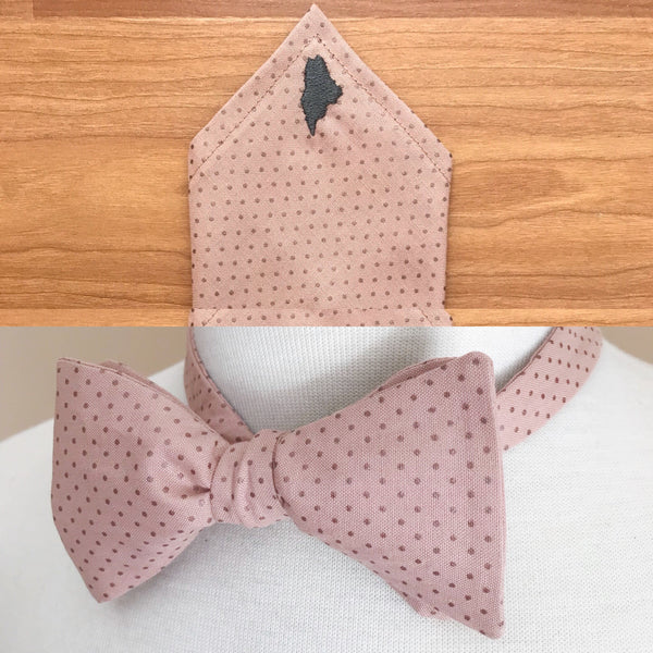 bow tie and Maine embroidered pocket square for Maine wedding