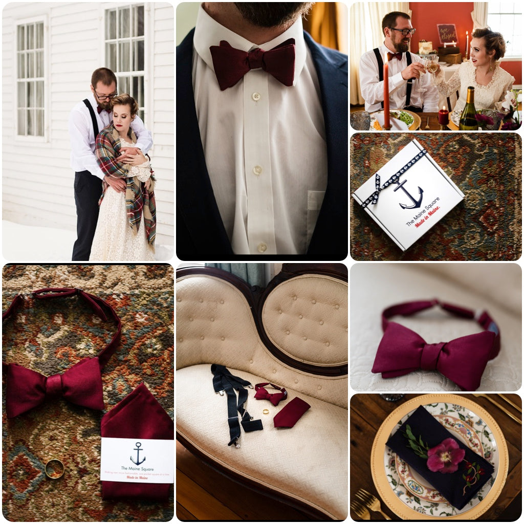 bow tie and pocket squares created for Maine wedding at Crooked Steeple Hall