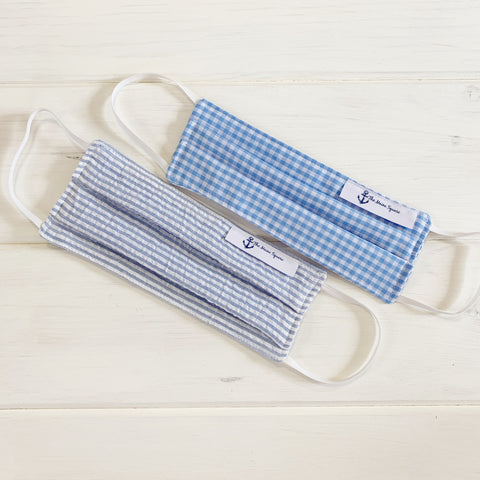 gingham face mask and seersucker face mask