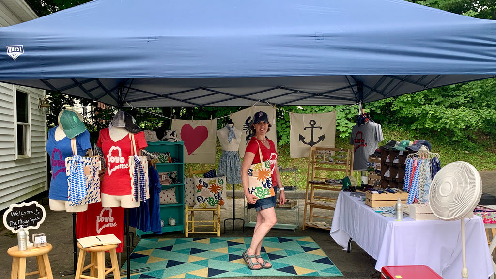 Laura Michaud and her first pop up shop at her preppy New England Boutique, The Maine Square