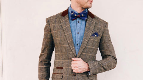 stag print bow tie and pocket square