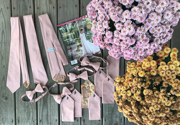 ties and pocket squares created for Real Maine Weddings Wedding of the Year 2018