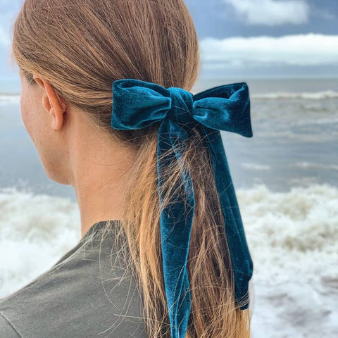 velvet hair bow ponytail holder