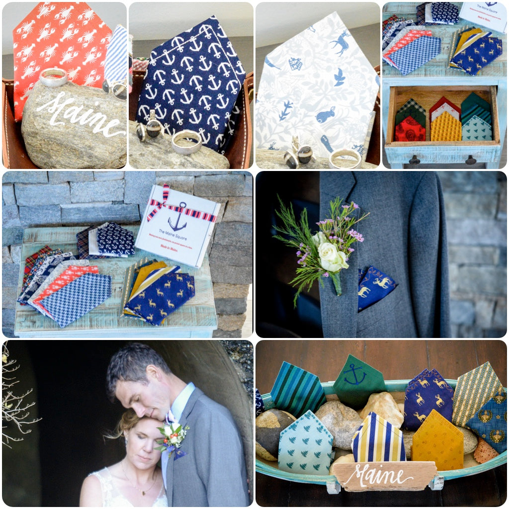 Pocket squares and bow ties created for Wedding on House Island Maine