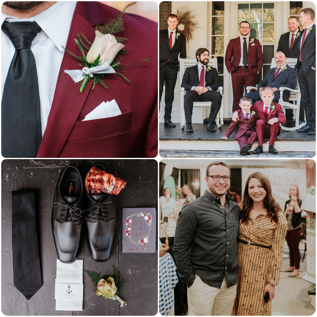 Laura Michaud of The Maine Square Designed the ties and pocket squares for Real Maine Weddings 2019