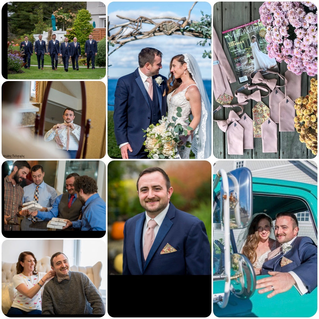 Laura Michaud of The Maine Square created the ties and pocket squares for Real Maine Weddings 2018