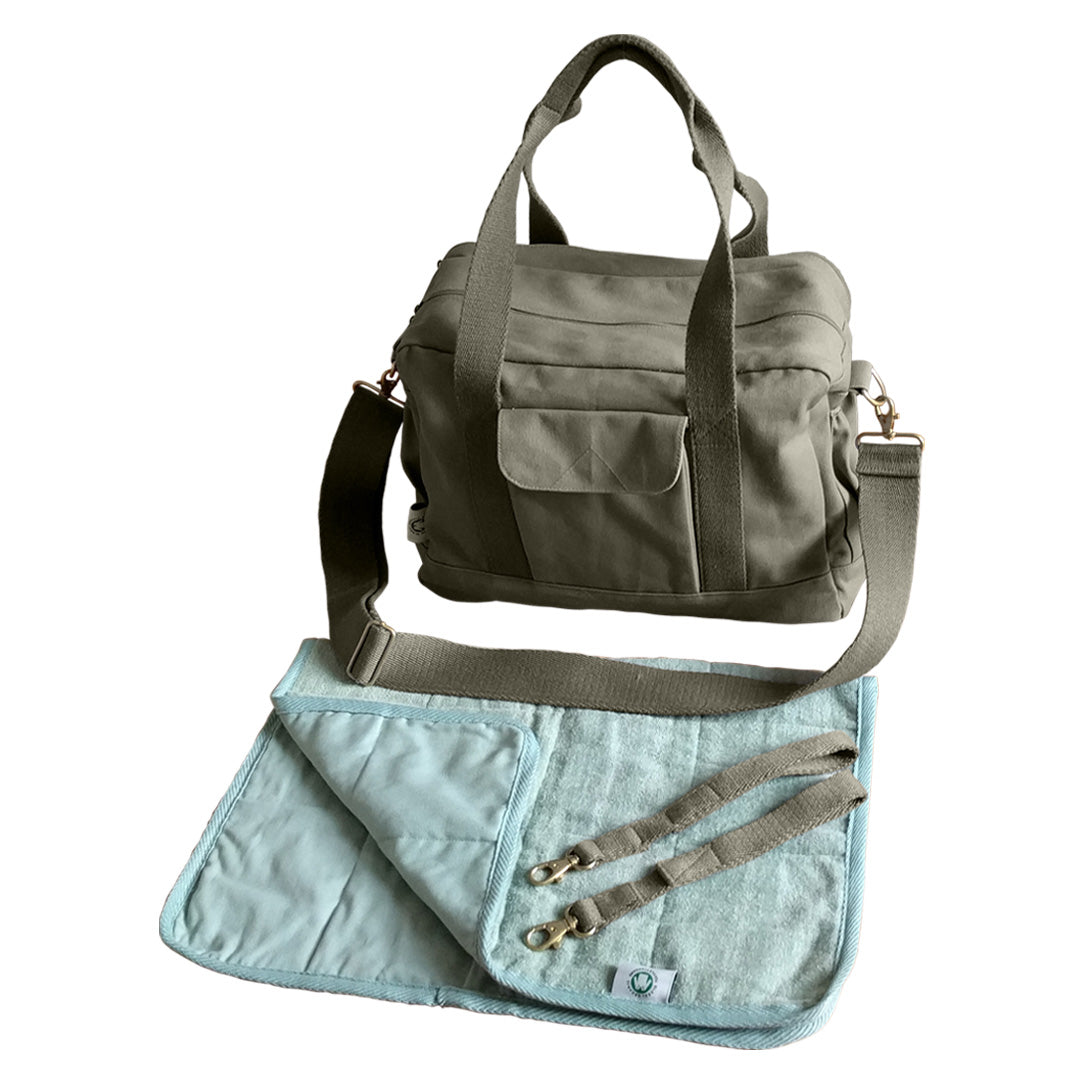 Dera Design GOTS-Certified organic diaper bag olive on white with accessories