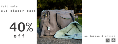 Dera design gots-certified organic diaper bag 40% off sale fall 2019 link to amazon.com