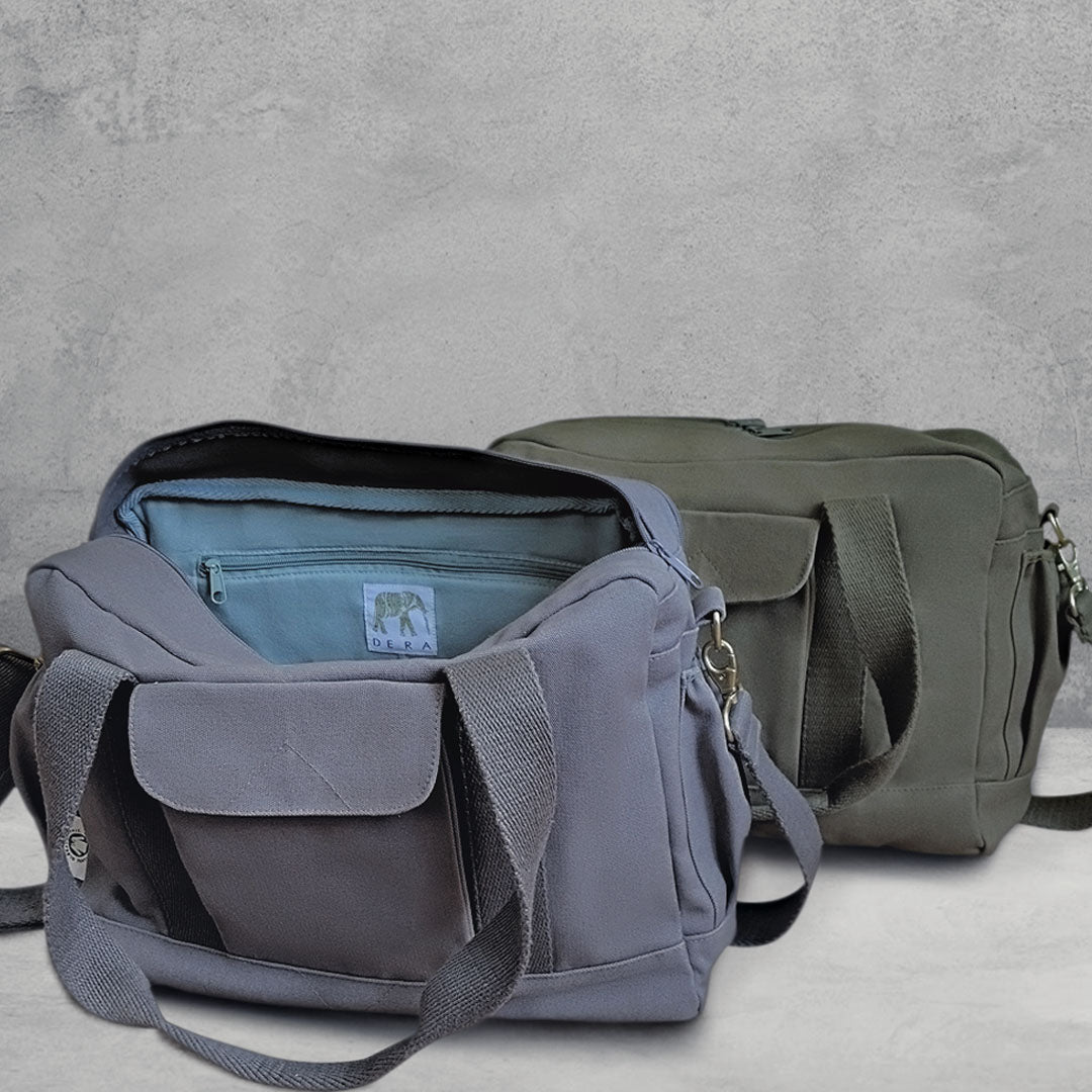 Two Dera Design GOTS-Certified diaper bags on gray background