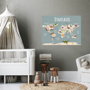 Dinosaur World Map on Fine Art Canvas or Archival Paper