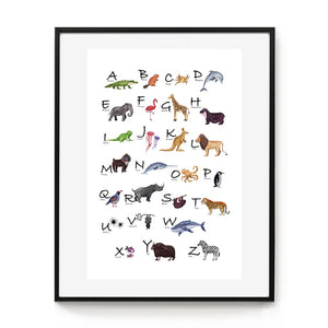 Animal alphabet poster with archival paper and inks