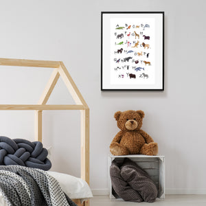 animal alphabet poster in child's room