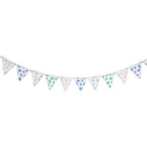 GOTS-Certified Organic Flag Garland/Banner Multi Turtles prints - on wall