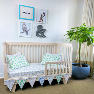 GOTS-Certified Organic Flag Garland/Banner - at bottom of crib
