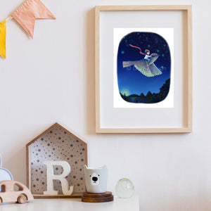 boy on bird framed print