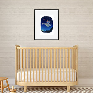 nursery print of boy on bird