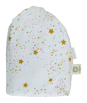 bag for 2 Toddleror Travel Pillowcases, GOTS-Certified Organic Cotton – Stars with Rose dots