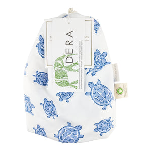 GOTS-Certified Organic Cotton Playard Sheet – Blue Turtle - bag with hangtags