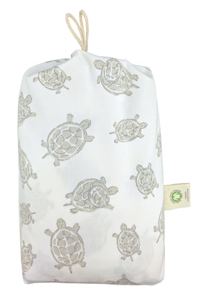 GOTS-Certified Organic Cotton Playard Sheet – Grey Turtle - bag
