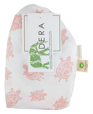 GOTS-Certified Organic Cotton Playard Sheet – Pink Turtle - bag with hangtags
