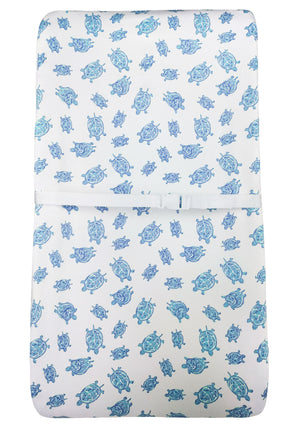 Changing Pad Cover in GOTS-Certified Organic Cotton – Turtle Blue