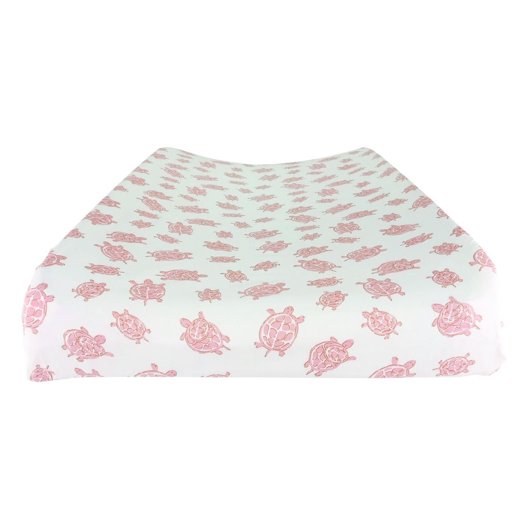 Changing Pad Cover in GOTS-Certified Organic Cotton – Turtle Pink