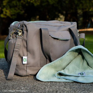 dera design GOTS-certified organic diaper bag in grey