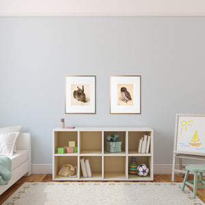 owl and rabbit art prints in playroom