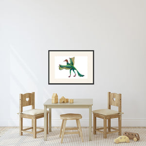 matted dinosaur in playroom