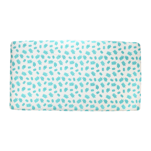Top View of Aqua Turtle Fitted Crib Sheet – GOTS-Certified Organic Cotton