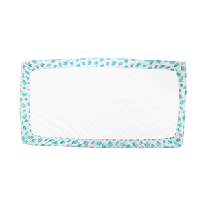 Underside View of Aqua Turtle Fitted Crib Sheet – GOTS-Certified Organic Cotton