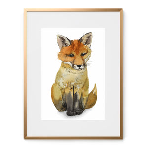 watercolor baby fox art print