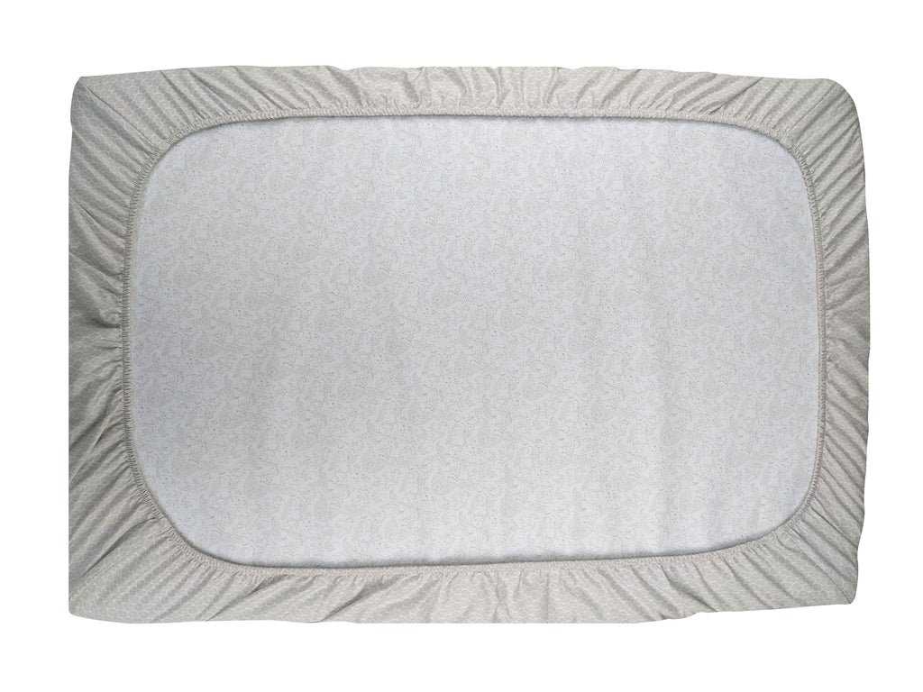 GOTS-Certified Organic Cotton Playard Sheet – Grey GeoLeaf - Back View