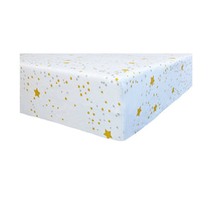 corner Playard Sheet in GOTS-Certified Organic Cotton – Starlight Mustard