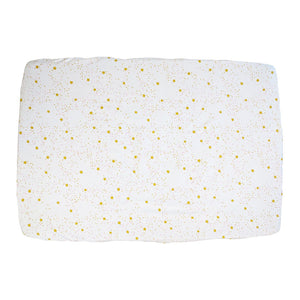 top view – Playard Sheet in GOTS-Certified Organic Cotton – Starlight Pink