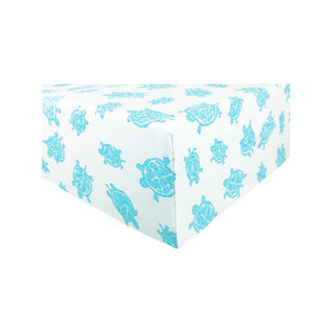 corner Playard Sheet in GOTS-Certified Organic Cotton – Turtle Aqua
