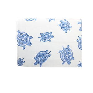 side Playard Sheet in GOTS-Certified Organic Cotton – Turtle Blue