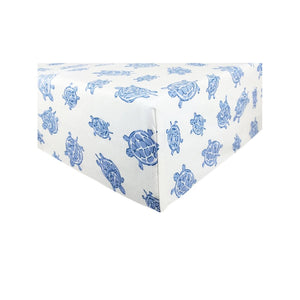 corner Playard Sheet in GOTS-Certified Organic Cotton – Turtle Blue