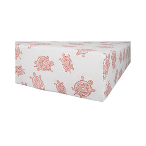 GOTS-Certified Organic Cotton Playard Sheet – Pink Turtle - corner view